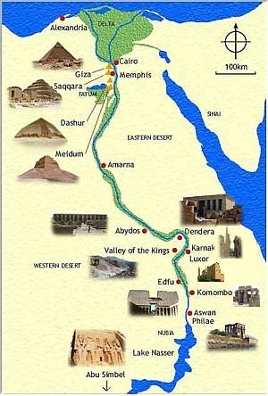 Mapa de monumentos de Egipto